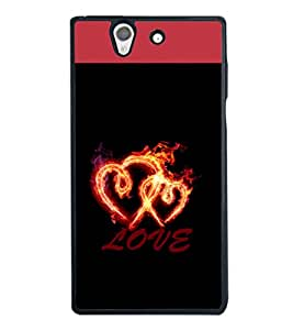 printtech Love Fire Heart Back Case Cover for Sony Xperia Z , Sony Xperia Z L36h