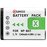 QUMOX NP-BX1, NPBX1 Haute Puissance Plus + 1240mAh au lithium de remplacement Li-Batterie Batterie rechargeable d'appareil photo numérique pour Sony DSC-RX1 RX1, RX100, DSC-RX100 Appareil photo numérique