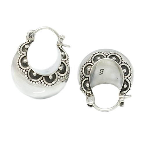 Hoop Earrings Indonesian Ornate Balinese Scallop Sterling Silver Bali