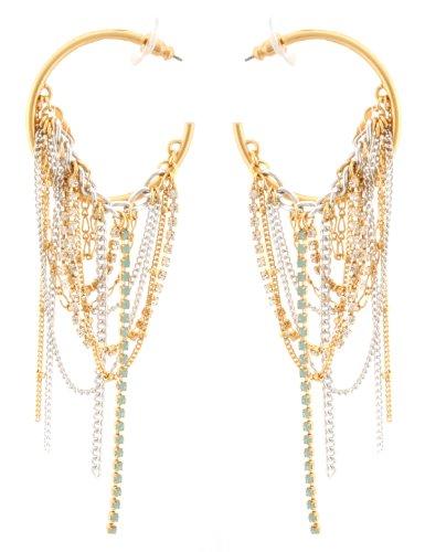 Zest Goldene Creolen Ohrringe mit Ketten &Swarovski Kristallen