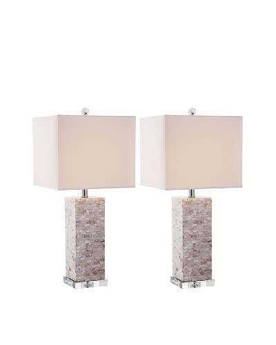 Safavieh Set of 2 Homer Shell 1-Light Table Lamps, Silver/Shell