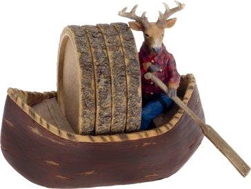 5 Piece Deer in Canoe Ceramic Coaster Gift Set