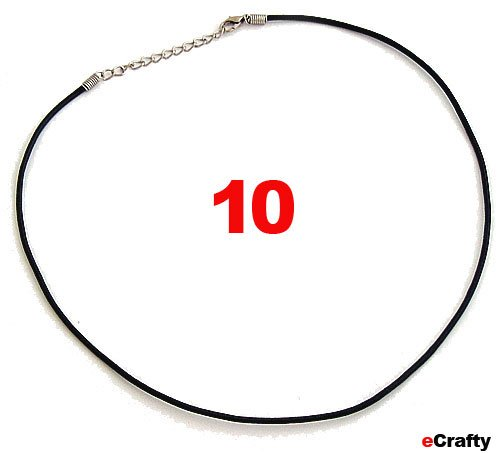 """Neck Cord Rubber 2Mm W/Lobster Clasp 18"""" Black 10Pc"""