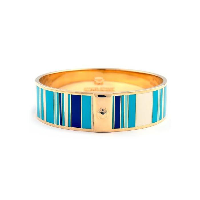 Stowe Street Ella Stripes Cuff Enamel Bracelet (Blue/Cream/Gold)