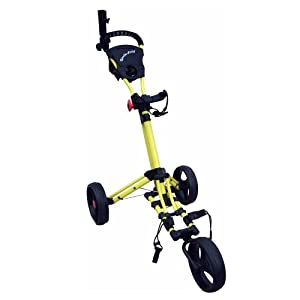 Qwik-Fold Three Wheel Push Golf Cart Free Umbrella Holder Folds Down In One Second! Color Yellow