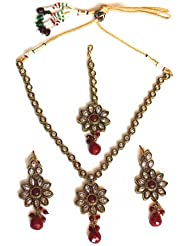 Fusion Jewels Red Indian Imitation Necklace Set For Women - B00HSHSSDY