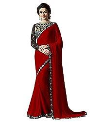 Madhav Fashion Designer House Fashionable Red Chiffon Saree