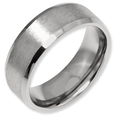 Titanium Beveled Edge 8mm Satin and Polished Band Ring Size 5 Real Goldia Designer Perfect Jewelry Gift for Christmas