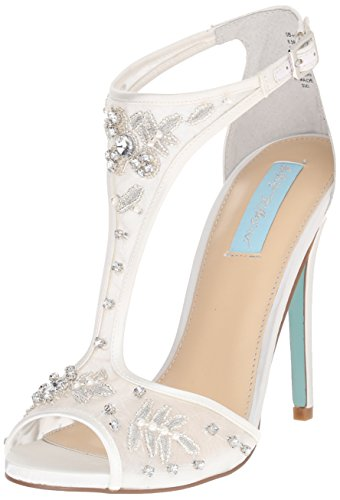 Blue by Betsey Johnson Women's SB-Holly dress Sandal, Ivory Satin, 10 M US