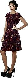 Difneez Women's Poly-crepe A-Line Dress(aline-dress-mul002_Purple_Small)