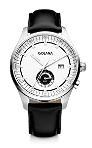 Golana Terra Gmt Men's Quartz Watch with Silver Dial Analogue Display and Black Leather Strap TE300-2