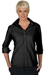 Ed Garments Women's Wrinkle Free Open Neck 3/4 Sleeve Poplin Blouse
