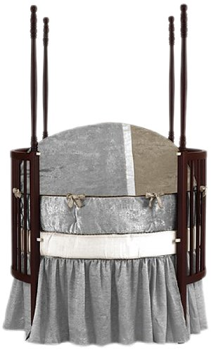Baby Doll Round Crib Bedding Set, Silver, 4 Piece