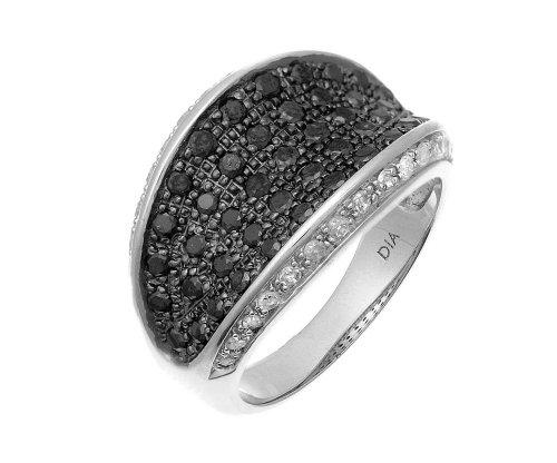 9ct White Gold Multi Row Black Diamond Eternity Ring