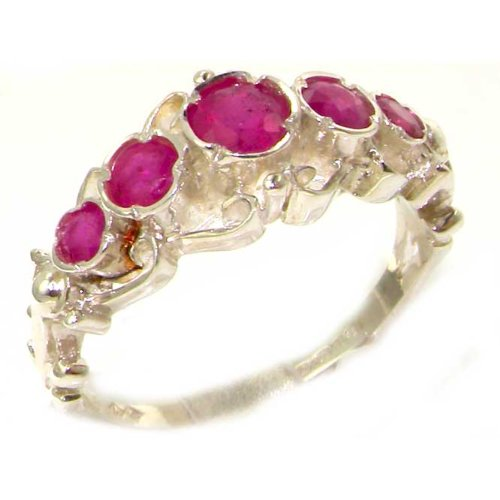 Solid White Gold Genuine Natural Ruby Ring of English Georgian Design - Size 9.25 - Finger Sizes 5 to 12 Available