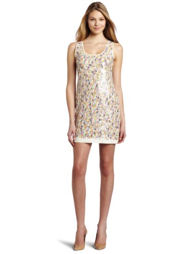 Trina Turk Women's Hale Sequins Dress, Ivory, 4