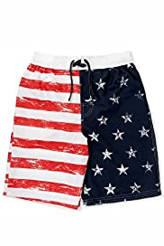 Contrast Drawstring Flag Print Swim Shorts