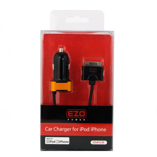 EZOPower Apple Certified 90° Rotatable Rapid Car Charger w/ IC Chip - No Overcharging for Apple iPhone 4 4G 4S 4GS 3G 3GS, iPod Touch Nano Video Classic - Black / Copper Orange шлейф hdd для apple ipod video classic