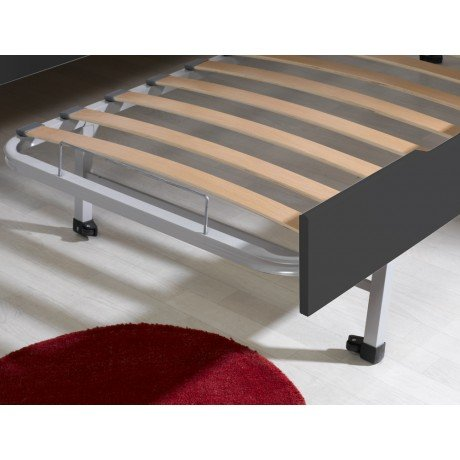Alfred & Compagnie - Pack lit gigogne 90x200 + 2 matelas anthracite Adèle