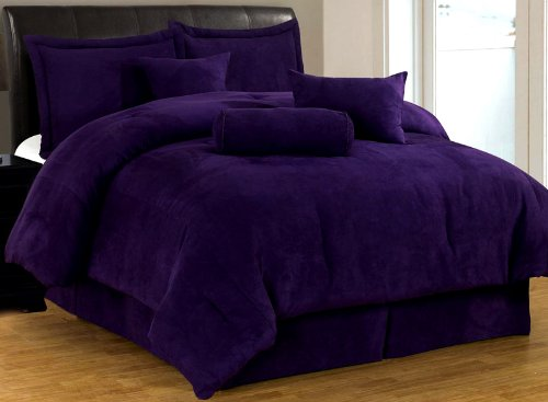 7 Pc Luxury Super Set, Solid Purple Suede Comforter Set / Bed In Bag - Queen Size Bedding front-108289