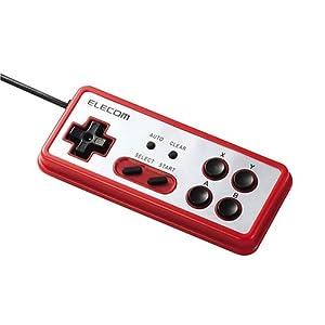 ELECOM i-revo推奨レトロ風USBゲームパッド レッド JC-U2208TRD