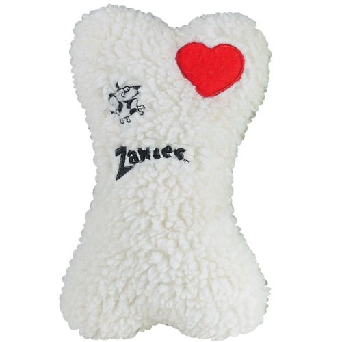 Zanies Poly/Cotton Embroidered Heart Berber Bones Dog Toy, 8-Inch, White front-1041936