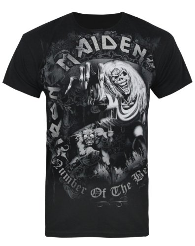 Official Iron Maiden Number Of The Beast Grey Tone Men'S T-Shirt-L