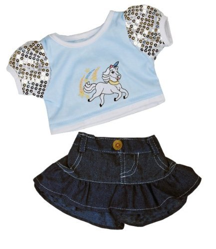 "Unicorn ""Glitter"" Outfit Teddy Bear Clothes Outfit Fits Most 14"" - 18"" Build-a-bear, Vermont Teddy Bears, and Make Your Own Stuffed Animals - 1"