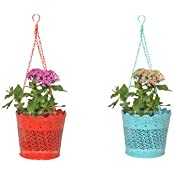 Trust Basket Set Of 2 Lace Hanging Basket- Red And Teal
