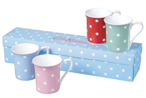 Churchill China Cath Kidston Spot Mug, Fine Bone China, 4 Pack, Gift Boxed