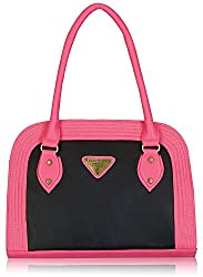 Fantosy Women's Handbag (Black and Pink) (FNB-391)