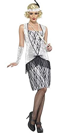 Ladies Silver Sequinned 1920s 20s Decades Flapper Fancy Dress Costume Outfit Size 8 18 Amazon