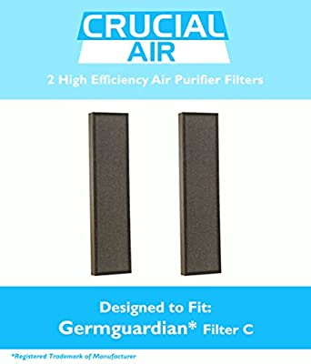 2 GermGuardian Air Purifier HEPA C Filters Fit AC5000 Series, Compare to Part # FLT5000 & FLT5111, Designed & Engineered by Crucial Air