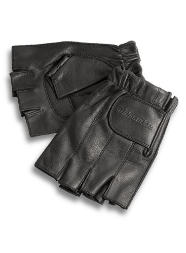 Milwaukee Motorcycle Clothing Company MMCC Fingerless Gloves with Gel Palm (Black, Medium)