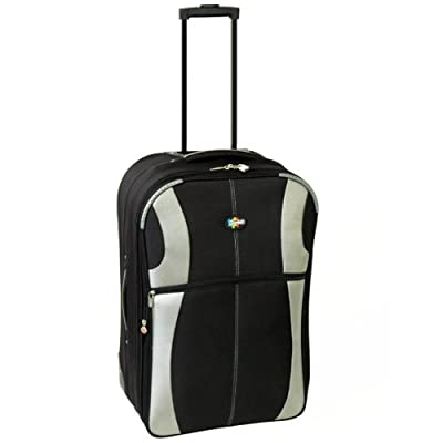 22 Inch Expandable Suitcase (Black/Silver) H55 x W37 x D20 cm excluding handles and wheels by Karabar