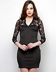 XnY Women's Bodycon Dress (DR 1020257_Black_8)