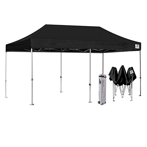 Eurmax 10 x 20 Premium EZ Pop up Canopy Wedding Party Tent Gazebo Shade Shelter Commercial grade Bonus Wheeled bag (Black)