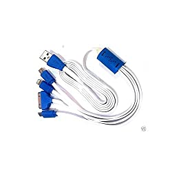 4 in 1 Multi charging LED USB Cable for iPhone 4, 5, 6 / TAB, Micro USB,Mini USB-(COLOR MAY VARY)