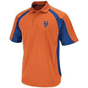 MLB New York Mets Season Pass Polo Shirt, Orange/Royal, Medium