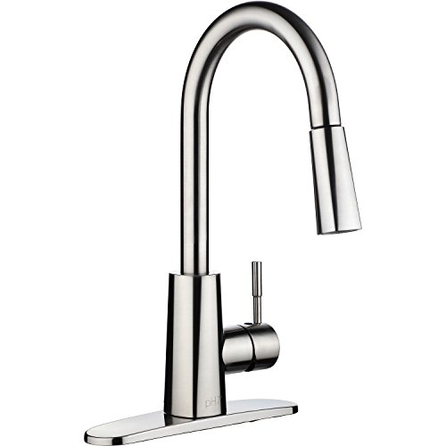 pH7174; F06 1-hole or 3-holes Plastic Pull-down Kitchen Sink Faucet with Deck Plate; 1-handle Kitchen Faucet; Excellent Finish, Nylon Hose, and Coordinating Shape, Brushed Nickel (1 Handle Kitchen Faucet compare prices)