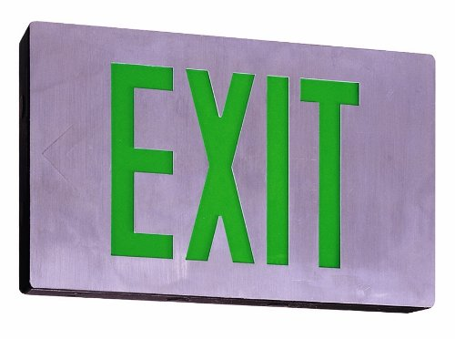 Royal Pacific RXL15GBA-SD Single Face, Die-Cast Exit Sign, Self Diagnostic, Brushed Aluminum with Green Letters
