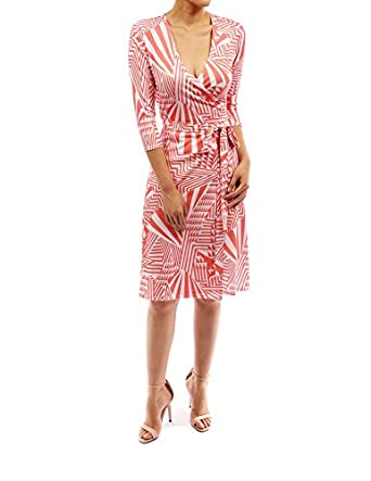 PattyBoutik 3/4 Sleeve Stretch Party Belt Full Wrap Dress (Coral and White XL)