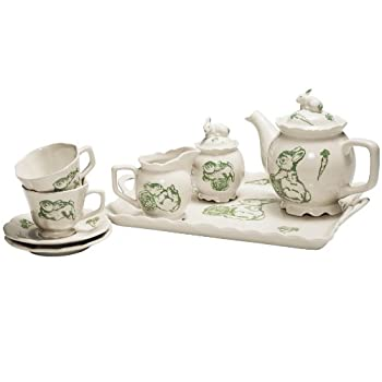Green Bunny Toile Demitasse Tea Set