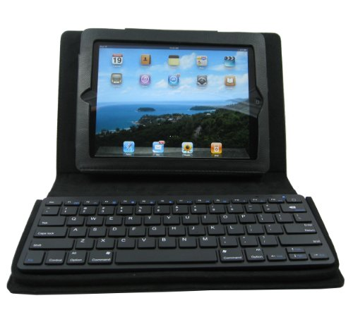 CaseGoods TypeCase for iPad and iPad 2 with Bluetooth Keyboard - Black Natural Leather