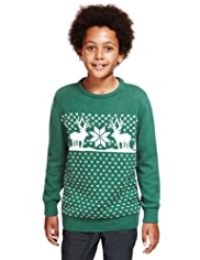 Pure Cotton Reindeer Design Christmas Jumper