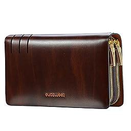 Teemzone Mens Genuine Leather Clutch Bag Handbag Organizer Checkbook Wallet Card Case (S3316)