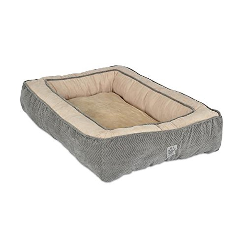 Precision Pet Chevron Chenille Gusset Low Bumper Floor Pillow, 27 by 36-Inch, Gray (Precision Pet Bumper Pillow Bed compare prices)