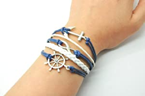 Navy Blue Rope and White Braided Leather Steampunk Adjustable Vintage Silver Karma Bracelet,infinity Wish Anchor Rudder Bracelet 1150r