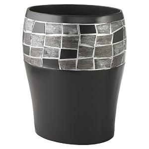 Mosaic Stone Black Waste Basket Trash Can