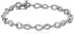 "Sterling Silver Diamond Bracelet (1/10 cttw, ), 7.25"""
